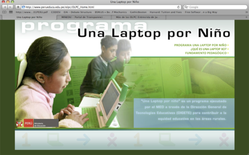 Entry page of Peru Ministry of Education's OLPC's Website: http://www.perueduca.edu.pe/olpc/OLPC_Home.html